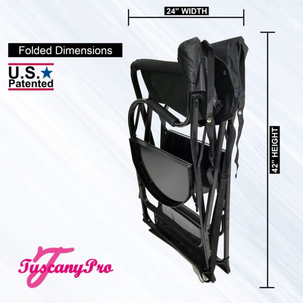 AS SEEN ON TV—FREE NAME LOGO—THE ORIGINAL TUSCANY PRO MID SIZE MAKEUP & HAIR PORTABLE CHAIR W LIGHT SYSTEM (25″ SEAT HEIGHT)-3