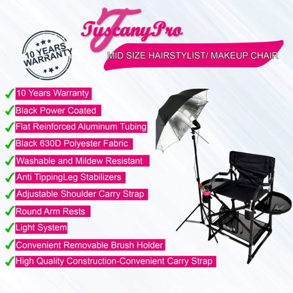 AS SEEN ON TV—FREE NAME LOGO—THE ORIGINAL TUSCANY PRO MID SIZE MAKEUP & HAIR PORTABLE CHAIR W LIGHT SYSTEM (25″ SEAT HEIGHT)