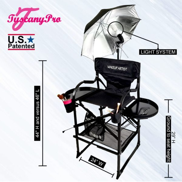 AS SEEN ON TV THE ORIGINAL TUSCANY PRO TALL MAKEUP ARTIST PORTABLE CHAIR-2