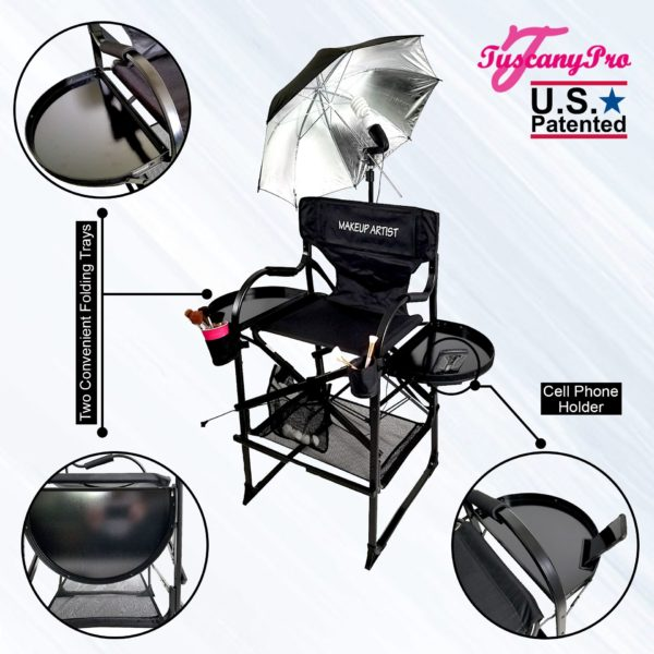 AS SEEN ON TV THE ORIGINAL TUSCANY PRO TALL MAKEUP ARTIST PORTABLE CHAIR-3