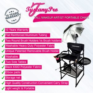 TALL MAKEUP ARTIST PORTABLE CHAIR W LIGHT SYSTEM
