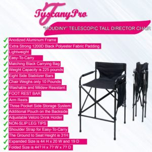 "FREE NAME / LOGO--Tuscany ""HOUDINY"" Telescopic Tall Director Chair"