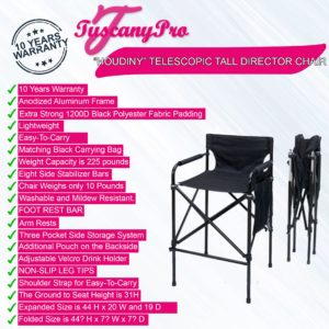 FREE NAME LOGO--Tuscany HOUDINY Telescopic Tall Director Chair
