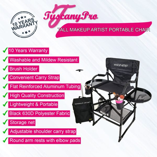 THE AWARD WINNING TUSCANY PRO TALL MAKEUP ARTIST PORTABLE CHAIR DELUXE COMBO-29″ SEAT HEIGHT