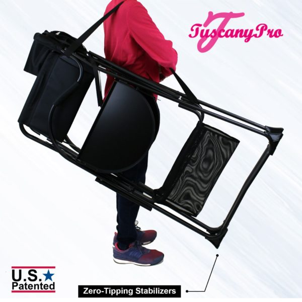 THE AWARD WINNING TUSCANY PRO TALL MAKEUP ARTIST PORTABLE CHAIR DELUXE COMBO-5
