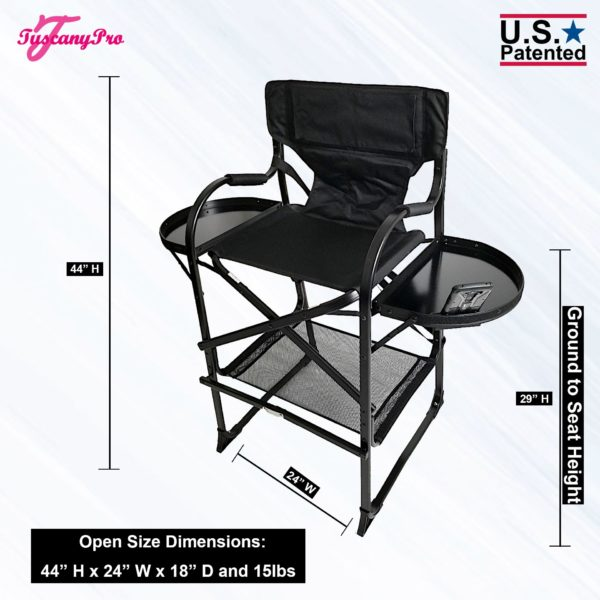 THE AWARD WINNING TUSCANYPRO TALL MAKEUP ARTIST PORTABLE CHAIR-29″ SEAT HEIGHT-1