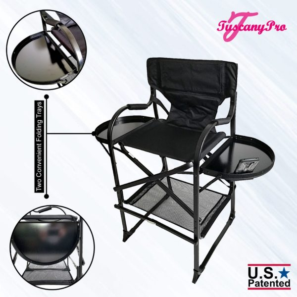 THE AWARD WINNING TUSCANYPRO TALL MAKEUP ARTIST PORTABLE CHAIR-29″ SEAT HEIGHT-2