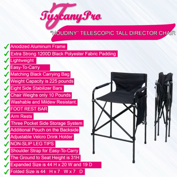 Tuscany Pro Portable Houdiny Telescopic Tall Director Chair