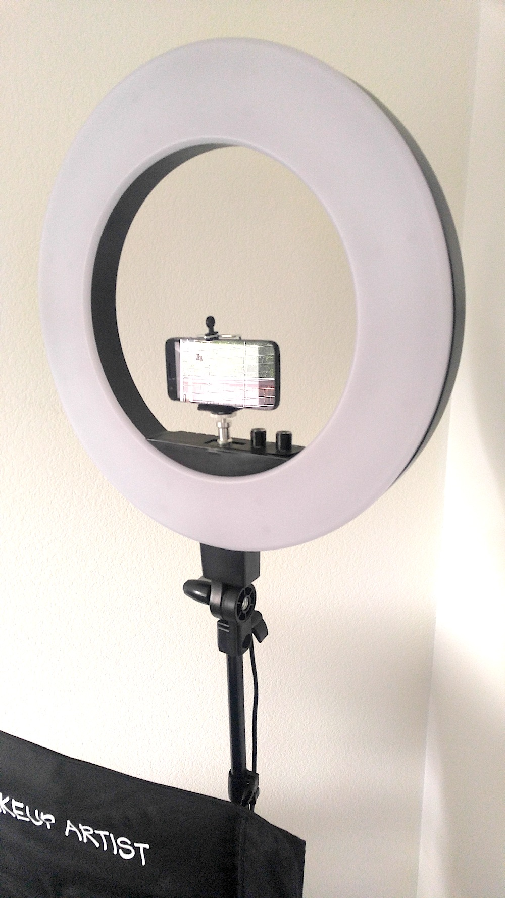 """Makeup Ring And Lights: TuscanyPRO Folding-Compact Makeup Artist Chair W/ 18"""" LED"""