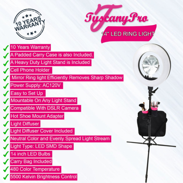 FREE NAME / LOGO Tuscany Pro 14″ LED Ring Light w/ Brush Holders, Cell Phone Holders & Mirror – US PATENTED – 10 YEARS WARRANTY