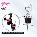 FREE NAME LOGO TUSCANYPRO 18″ LED RING LIGHT W BRUSH HOLDERS, CELL PHONE HOLDERS & MIRROR – 2