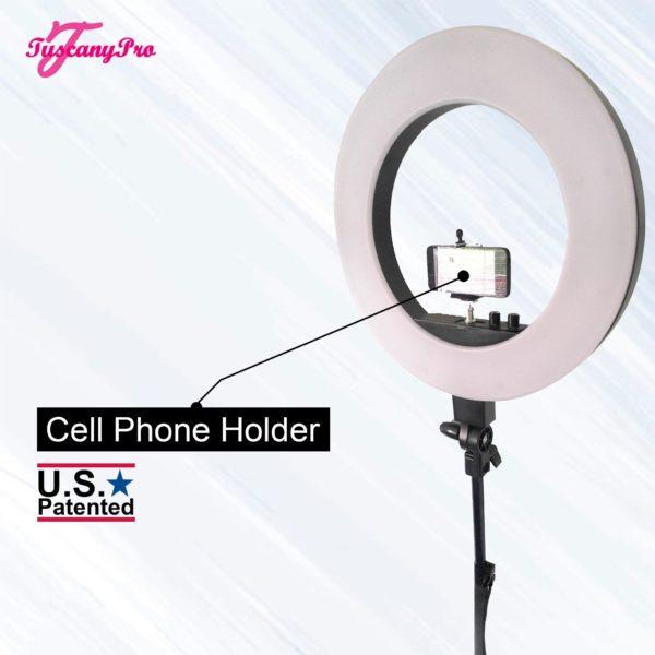 FREE NAME LOGO TUSCANYPRO 18″ LED RING LIGHT W BRUSH HOLDERS, CELL PHONE HOLDERS & MIRROR – 3