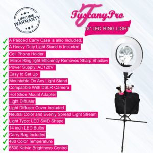 FREE NAME / LOGO TUSCANYPRO 18″ LED RING LIGHT