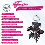 -COMPACT MAKEUP ARTIST CHAIR W/ 18″ LED RING LIGHT