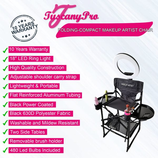 TUSCANYPRO FOLDING-COMPACT MAKEUP ARTIST CHAIR W 18″ LED RING LIGHT -BEST COMBO DEAL IN THE INDUSTRY