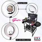 TUSCANYPRO FOLDING-COMPACT MAKEUP ARTIST CHAIR W 18″ LED RING LIGHT -BEST COMBO DEAL IN THE INDUSTRY-2