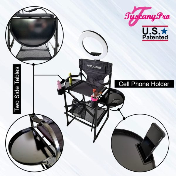 TUSCANYPRO FOLDING-COMPACT MAKEUP ARTIST CHAIR W 18″ LED RING LIGHT -BEST COMBO DEAL IN THE INDUSTRY-3