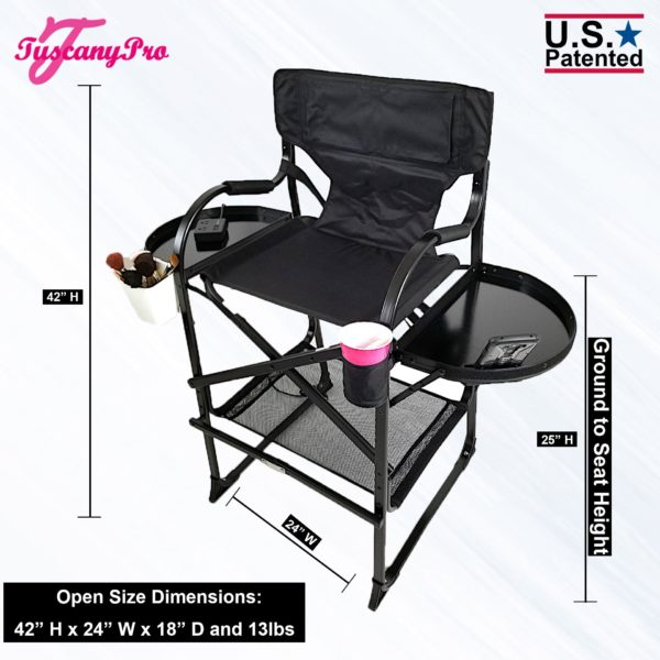 """NEW"""" 2019 TUSCANYPRO MID SIZE HAIRSTYLIST MAKEUP CHAIR W POWER STRIP – 25″ SEAT HEIGHT-1"""