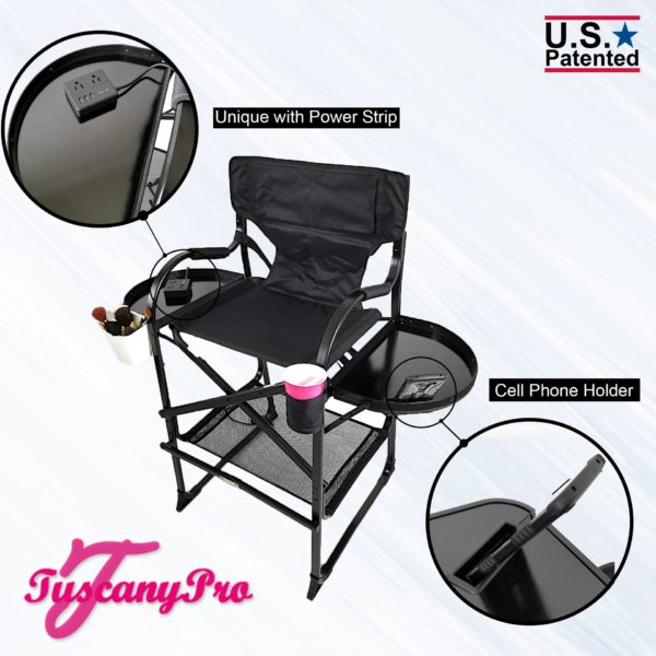 """NEW"""" 2019 TUSCANYPRO MID SIZE HAIRSTYLIST MAKEUP CHAIR W POWER STRIP – 25″ SEAT HEIGHT-4"""