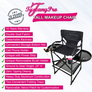 Tall Makeup Chair w Power Strip