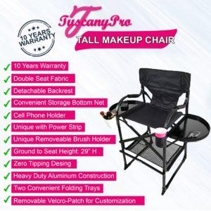 Tall Makeup Chair w Power Strip