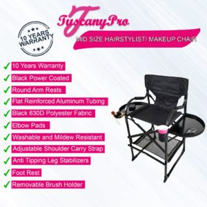 MID SIZE HAIRSTYLIST/ MAKEUP CHAIR W/ POWER STRIP