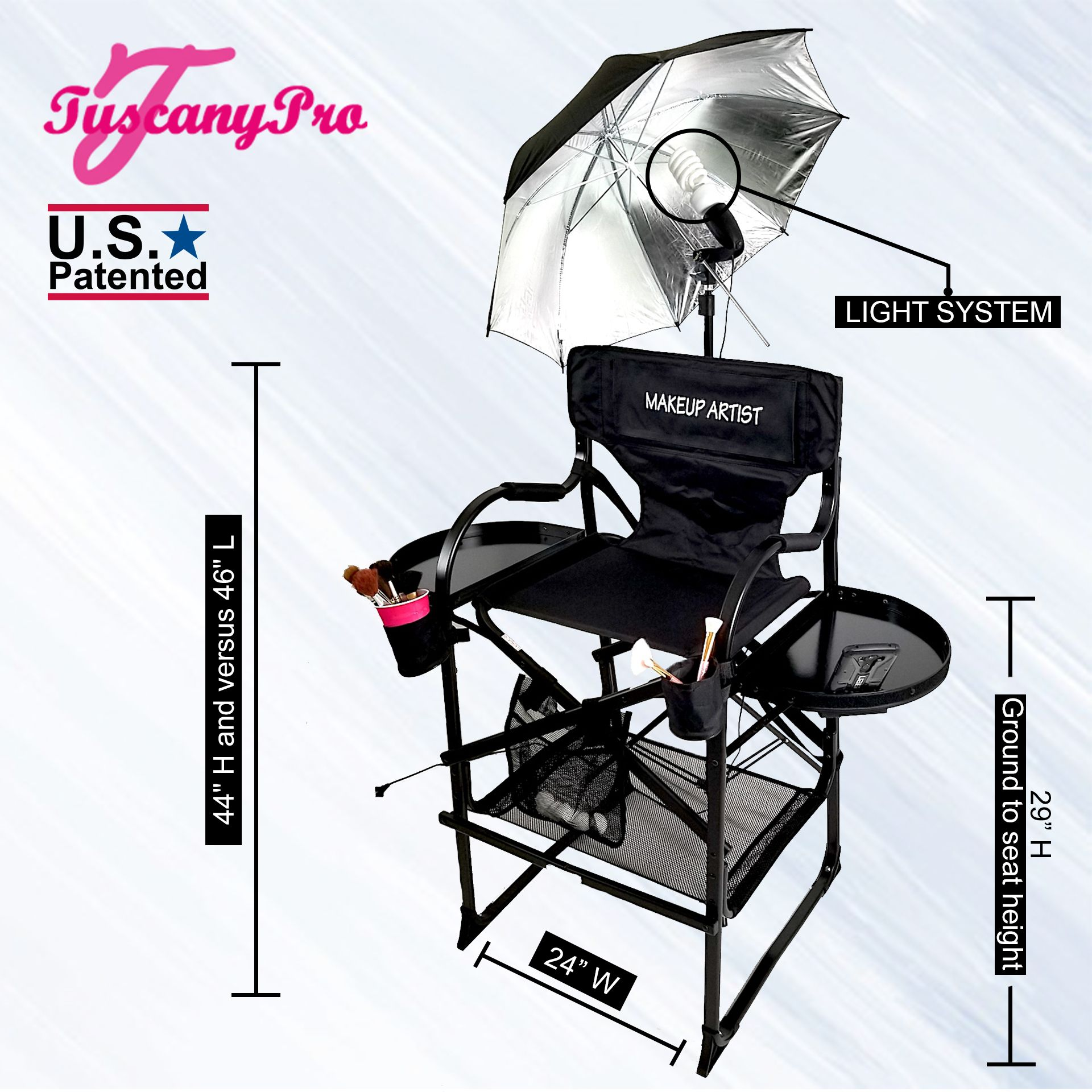 2.	TUSCANY PRO TALL MAKEUP ARTIST PORTABLE CHAIR