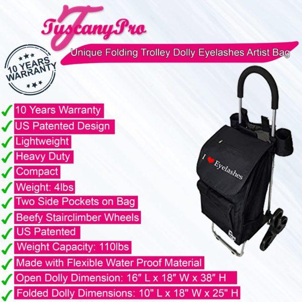Unique Folding Trolley Dolly & Eyelashes Artist Bag