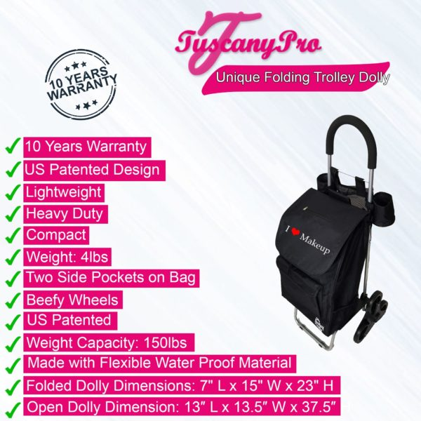 TUSCANYPRO MAKEUP CART WITH STAIRCASE CLIMBER WHEELS – UNIQUE FOLDING TROLLEY DOLLY & A MAKEUP ARTIST BAG