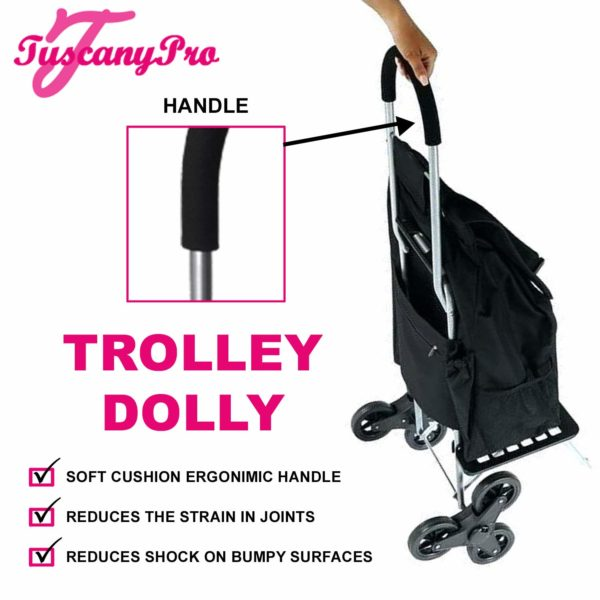 TuscanyPro Eyelashes Cart with Staircase Climber Wheels – Unique Folding Trolley Dolly & Eyelashes Artist Bag – US Patented – 10 Years Warranty – 1