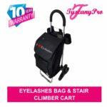 TuscanyPro Eyelashes Cart with Staircase Climber Wheels – Unique Folding Trolley Dolly & Eyelashes Artist Bag – US Patented – 10 Years Warranty – 2