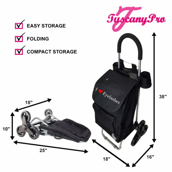 TuscanyPro Eyelashes Cart with Staircase Climber Wheels – Unique Folding Trolley Dolly & Eyelashes Artist Bag – US Patented – 10 Years Warranty – 4