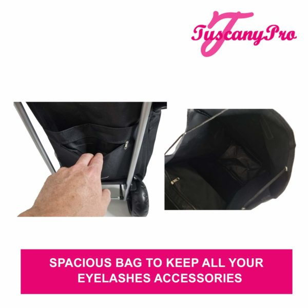 TuscanyPro Eyelashes Cart with Staircase Climber Wheels – Unique Folding Trolley Dolly & Eyelashes Artist Bag – US Patented – 10 Years Warranty – 6