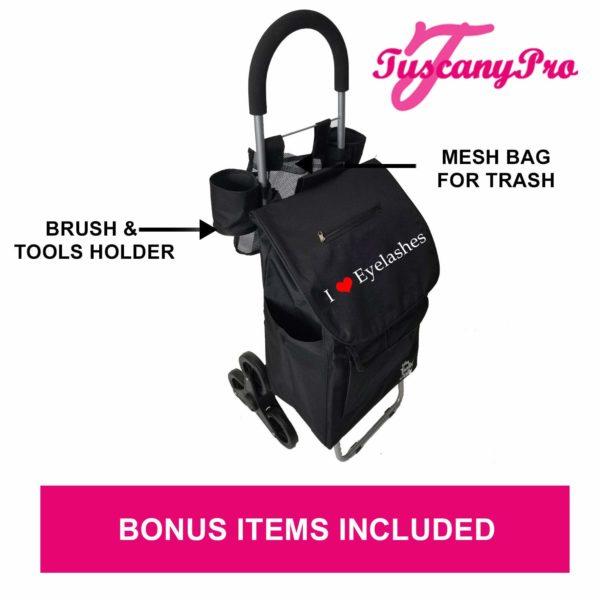 TuscanyPro Eyelashes Cart with Staircase Climber Wheels – Unique Folding Trolley Dolly & Eyelashes Artist Bag – US Patented – 10 Years Warranty – 7