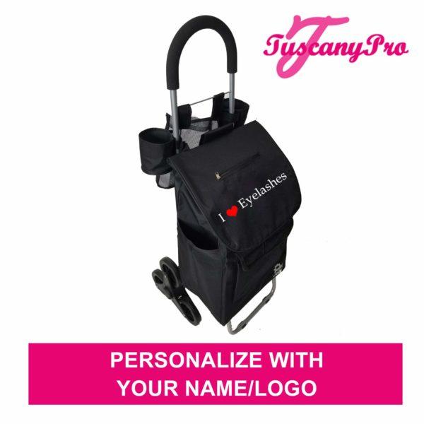 TuscanyPro Eyelashes Cart with Staircase Climber Wheels – Unique Folding Trolley Dolly & Eyelashes Artist Bag – US Patented – 10 Years Warranty – 8