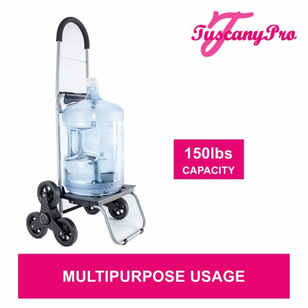 TuscanyPro Eyelashes Cart with Staircase Climber Wheels – Unique Folding Trolley Dolly & Eyelashes Artist Bag – US Patented – 10 Years Warranty – 9
