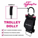 TuscanyPro Hairstylist Cart with Wheels – Unique Folding Trolley Dolly & A Hairstylist Bag – US Patented – 10 Years Warranty – 1