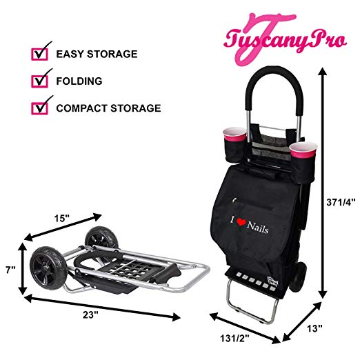 TuscanyPro Nails Cart with Wheels – Unique Folding Trolley Dolly & Nail Artist Bag – US Patented – 2