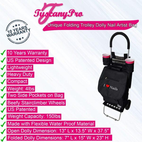 Unique Folding Trolley Dolly & Nail Artist Bag