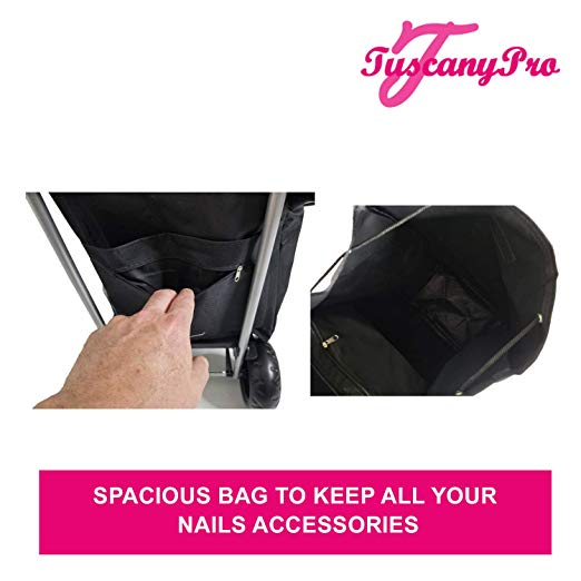 TuscanyPro Nails Cart with Wheels – Unique Folding Trolley Dolly & Nail Artist Bag – US Patented – 7