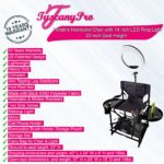 TuscanyPro Portable Hairstylist Chair with 14 Inch LED Ring Light – Perfect for Makeup, Hair Stylist, Salon with 22 Inch Seat Height