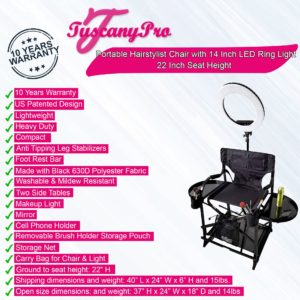 TuscanyPro Portable Hairstylist Chair with 14 Inch LED Ring Light - Perfect for Makeup, Hair Stylist, Salon with 22 Inch Seat Height