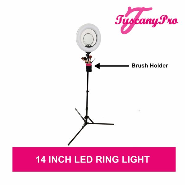 TuscanyPro Portable Hairstylist Chair with 14 Inch LED Ring Light – Perfect for Makeup, Hair Stylist, Salon with 22 Inch Seat Height -3