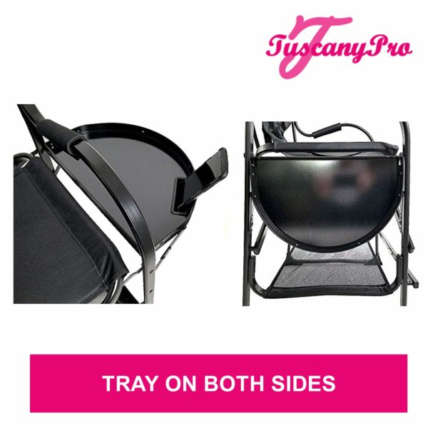 TuscanyPro Portable Hairstylist Chair with 14 Inch LED Ring Light – Perfect for Makeup, Hair Stylist, Salon with 22 Inch Seat Height – 7