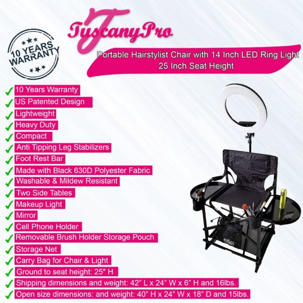 TuscanyPro Portable Makeup & Hair Chair with 14 Inch LED Ring Light – Perfect for Makeup, Hair Stylist, Salon with 25 Inch Seat Height