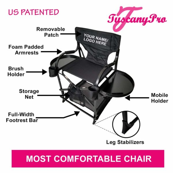 TuscanyPro Portable Makeup & Hair Chair with 14 Inch LED Ring Light – Perfect for Makeup, Hair Stylist, Salon with 25 Inch Seat Height – 1