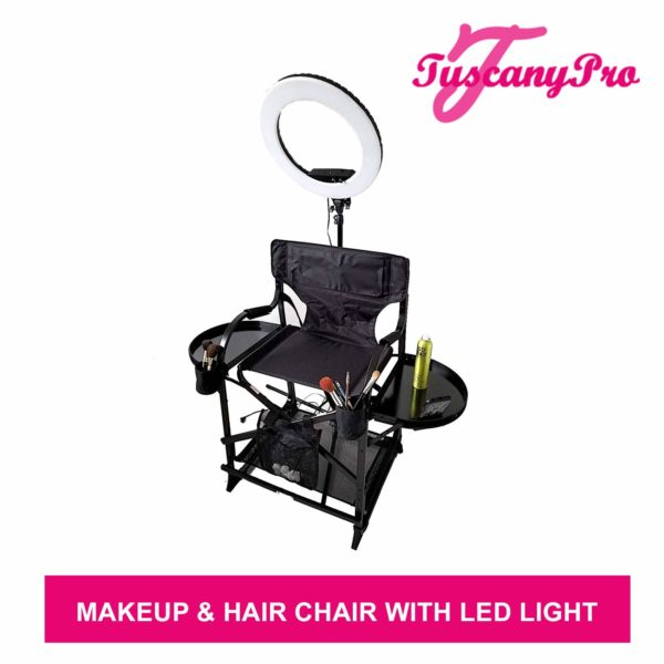 TuscanyPro Portable Makeup & Hair Chair with 14 Inch LED Ring Light – Perfect for Makeup, Hair Stylist, Salon with 25 Inch Seat Height – 2