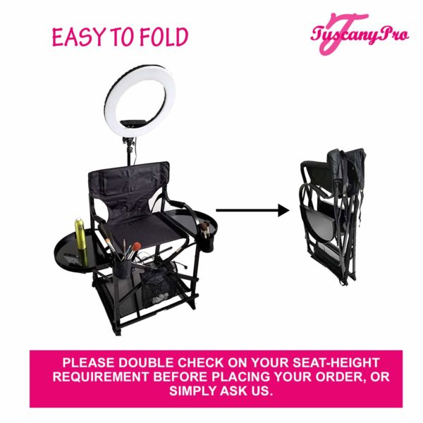TuscanyPro Portable Makeup & Hair Chair with 14 Inch LED Ring Light – Perfect for Makeup, Hair Stylist, Salon with 25 Inch Seat Height – 6