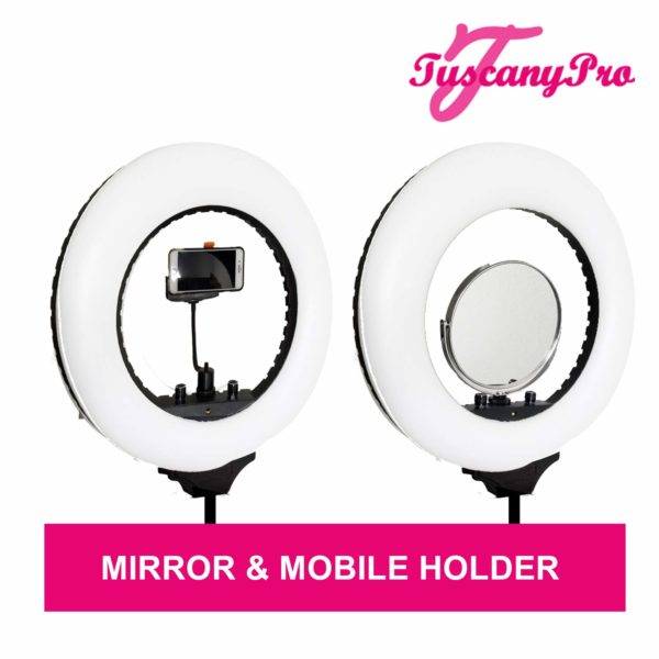 TuscanyPro Portable Makeup & Hair Chair with 14 Inch LED Ring Light – Perfect for Makeup, Hair Stylist, Salon with 25 Inch Seat Height – 9